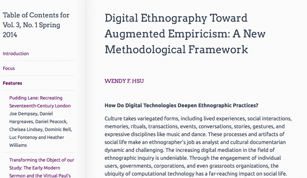 Digital Ethnography article in JDH byWendy Hsu